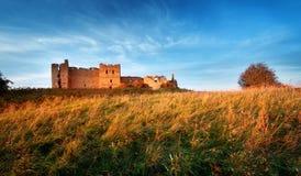 Oude kasteelruïnes in zonsonderganglicht Royalty-vrije Stock Fotografie