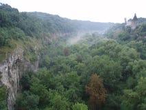 Oude Kasteeltoren in het bos dichtbij de kloof stock fotografie