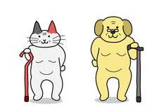 Oude kat en oude hond royalty-vrije illustratie