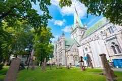 Oude kathedraal in Trondheim, Noorwegen Royalty-vrije Stock Foto