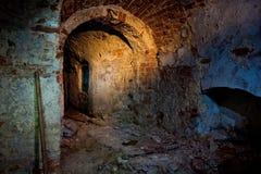 Oude kelder onder oude manor stock foto