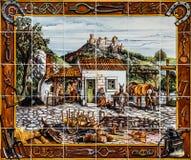 Oude keramische tegel in de straat van Lissabon, Portugal Stock Foto's