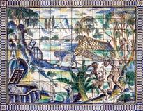 Oude keramische tegel, museum Azulejo, Lissabon, Portugal Stock Foto