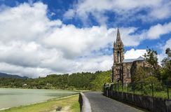 Oude Kerk in Furnas-Dorp, Furnas-Lagune, Eiland de Azoren, Portugal Stock Fotografie