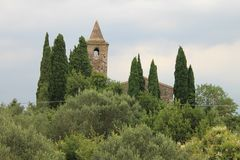 Oude Kerk van San Pietro in Mavino in Sirmione Italië stock foto