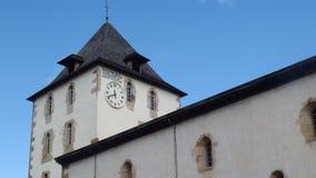 Oude Kerktoren met Klok Frankrijk Royalty-vrije Stock Foto