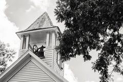 Oude Kerktorenspits met Klok Stock Foto