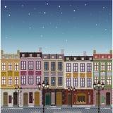 Oude Kerstmisachtergrond van de straatstad Stock Afbeeldingen