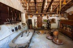 Oude keuken Middeleeuws manor-museum La Granja op het eiland stock foto