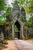 Oude Khmer architectuur Verbazende mening van Bayon-tempel bij zonnen Royalty-vrije Stock Foto's