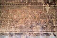 Oude Khmer bas-hulp bij de tempel van Angkor Wat, Kambodja Royalty-vrije Stock Afbeelding