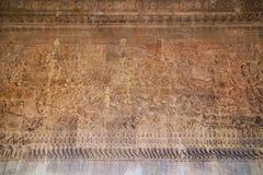 Oude Khmer bas-hulp bij de tempel van Angkor Wat, Kambodja Royalty-vrije Stock Fotografie