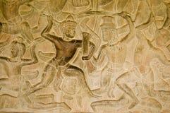 Oude Khmer gevechts bas hulp royalty-vrije stock afbeeldingen