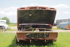 Oude klassieke auto's en vrachtwagens in Dickerson Texas royalty-vrije stock afbeelding