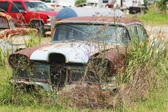 Oude klassieke auto's en vrachtwagens in Dickerson Texas stock afbeeldingen