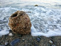 Oude kleikruik op de kust stock fotografie