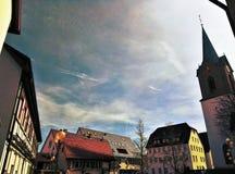 Oude kleine Duitse stad Stock Foto's