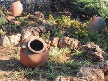 Oude kleipotten op de achtergrond van gras en stenen Stock Foto