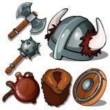 Oude kleren en wapens van Vikingen Foelie, bijl, helm met hoornen, fles, bontjas en tamboerijn Zes geïsoleerde pictogrammen vector illustratie