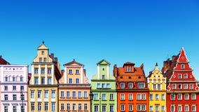 Oude kleurenhuizen in Wroclaw, Polen stock foto
