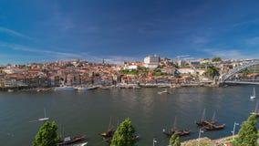 Oude kleurrijke huizen in oud deel van Porto, mening stock video