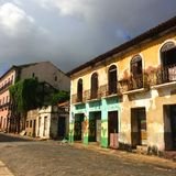 Oude kleurrijke huizen in Sao Luis: Brazilië Royalty-vrije Stock Afbeelding
