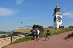 Oude klok op de Petrovaradin-Toren Stock Foto