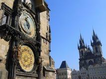 Oude klok in Praag (Unesco) Stock Afbeelding