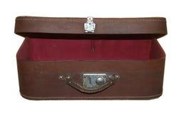 Oude koffer bruine kleur met één die metaalslot op whit wordt geïsoleerd Stock Foto
