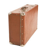 Oude Koffer die op wit wordt geïsoleerd. Stock Foto