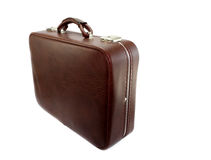 Oude koffer die op wit wordt geïsoleerdr Stock Foto