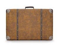 Oude Koffer over Wit royalty-vrije stock afbeeldingen