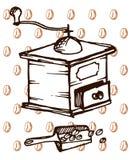 Oude koffiemolen op koffieachtergrond royalty-vrije illustratie