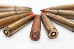 Oude kogels in de cirkel stock foto's
