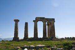 Oude Kolommen in Corinth Stock Foto's