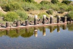 Oude kolommen in Miletus, Turkse Milet, Turkije Stock Afbeelding