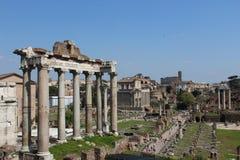 Oude kolommen in roman forum in Rome Royalty-vrije Stock Afbeelding