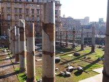 Oude Kolommen, Rome, Italië Stock Afbeeldingen