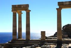 Oude kolommen van Rhodos Stock Foto