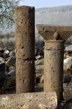 Oude kolommen van Umm el Kanatir, Israël stock foto