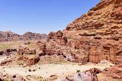 Oude Koninklijke de Graven Complexe Ruïnes van Nabataean in de Verloren Stad van Petra, Jordanië stock foto
