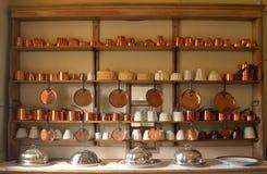Oude koperpotten en pannen Stock Afbeelding