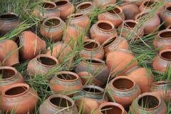 Oude kruiken die op het gras liggen Stock Fotografie
