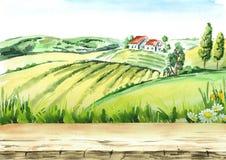 Oude landbouwbedrijf en gebieden in platteland met lege lijst als achtergrond Waterverfhand getrokken illustratie stock illustratie