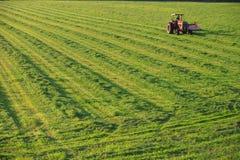 Oude landbouwbedrijftractor op een gebied. Royalty-vrije Stock Foto