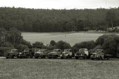 Oude Landbouwbedrijfvrachtwagens, Vrachtwagens, Tray Back royalty-vrije stock foto's