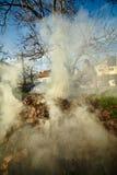 Oude landbouwer die dode bladeren branden Royalty-vrije Stock Foto's