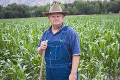 Oude Landbouwer die op zijn gebieden werkt Stock Foto