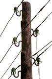 Oude landelijke elektrische pijler die op wit wordt geïsoleerdg Royalty-vrije Stock Afbeelding