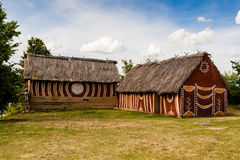 Oude landelijke huizen van Trypillian-cultuur Royalty-vrije Stock Afbeeldingen